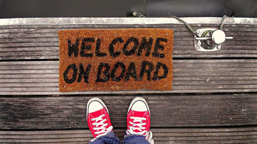 welcome on board dark orange welcome mat