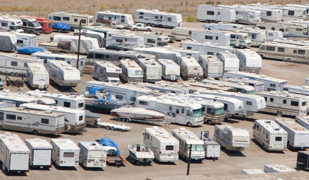 RV trailer outdoor parking