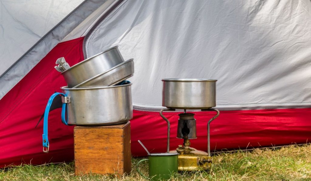 cooking equipment stored in the under frame storage of an RV