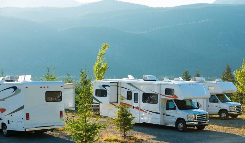 RVs park outdoors