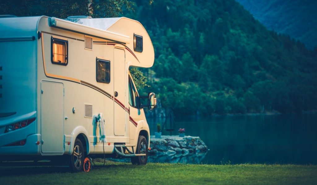 camping at the lake with the family RV