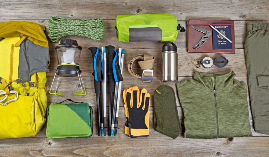 camping gears on the table