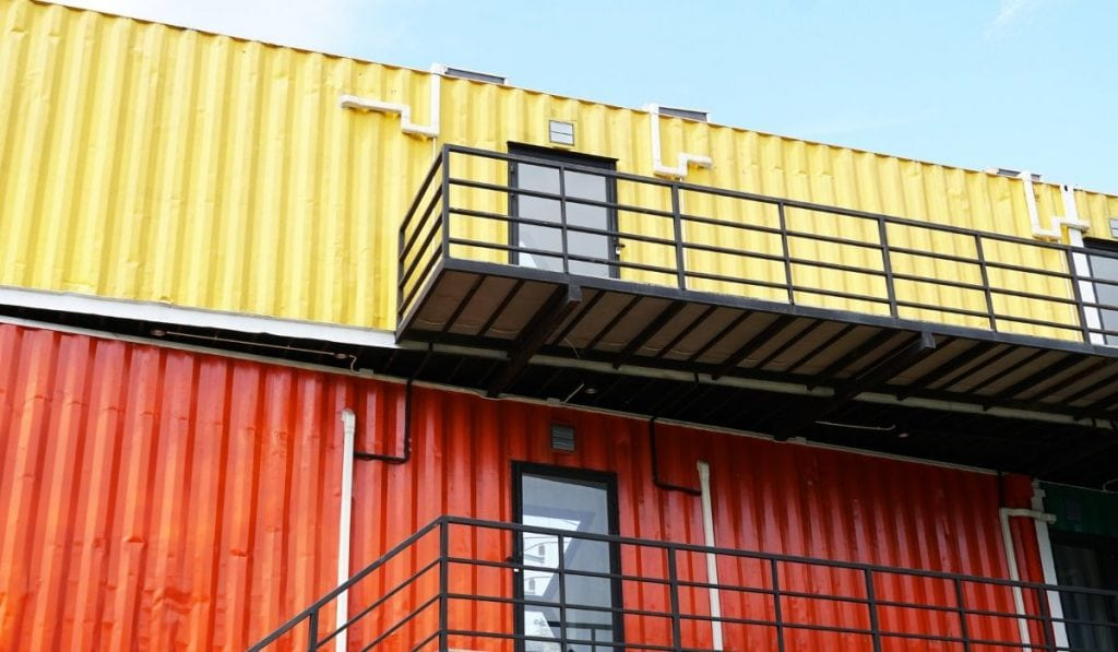 stacked up shipping containers as an office building