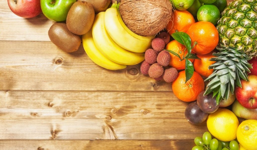 different fruits on the wooden table