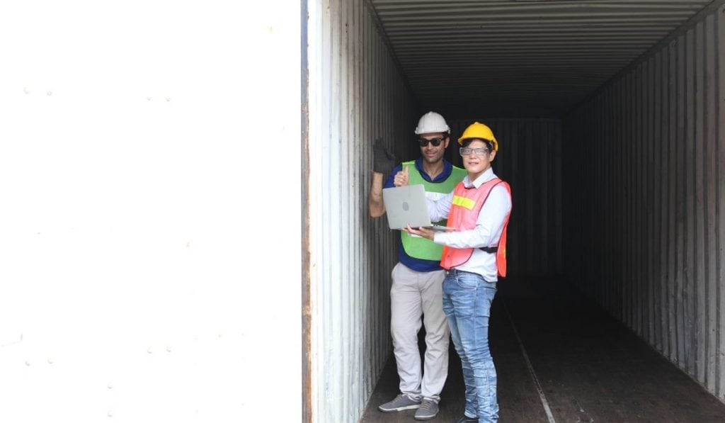 inspecting shipping container
