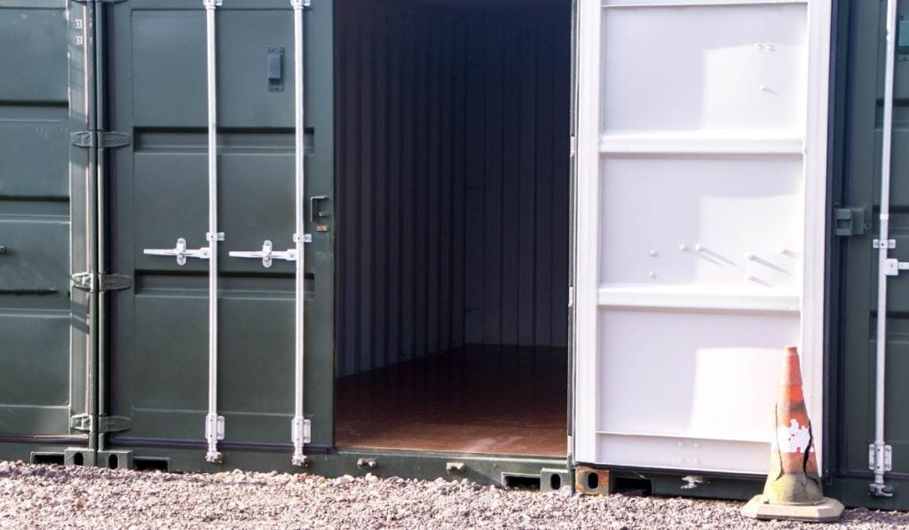 shipping container in the storage facility